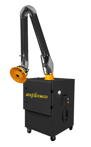 A non pulsing portable fume extractor features a rugged steel construction and attached flexible capture arm.
