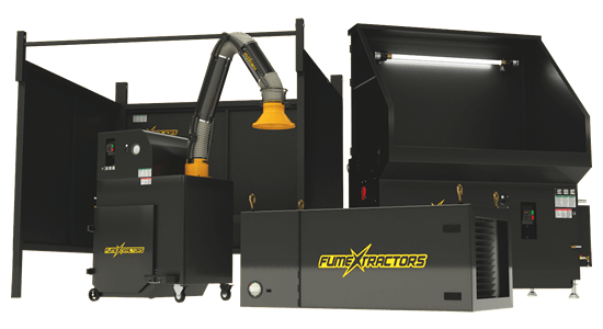 A group of welding fume extraction systems including a FumeXtractors welding booth, portable fume extractor, ambient air cleaner, and downdraft table.