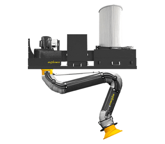 A wall mounted fume extractor with a heavy duty, powder coated steel shell, attached filter and flexible fume arm, and a spark trap for additional safety.