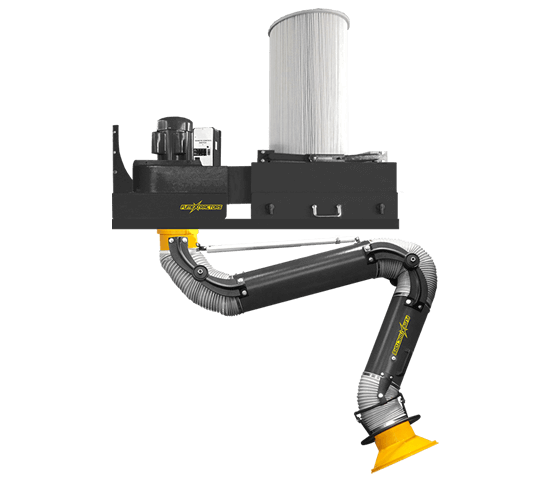A plug and play, wall mounted fume extractor with a heavy duty, powder coated steel shell and attached filter and flexible fume arm.
